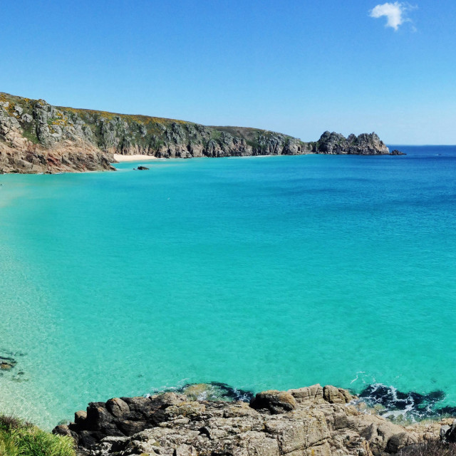 """Porthcurno beach from the coast path"" stock image"