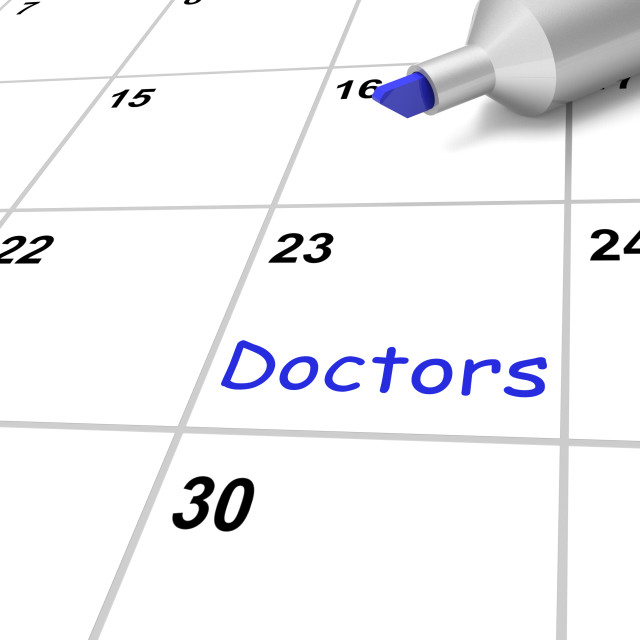 """""""Doctors Calendar Means Medical Checkup And Health Advice"""" stock image"""