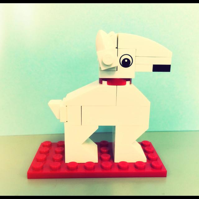 """Bull Terrier LEGO sculpture"" stock image"