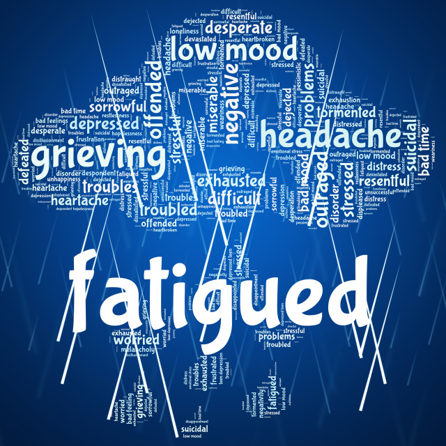 """""""Fatigued Word Shows Lack Of Energy And Drowsiness"""" stock image"""