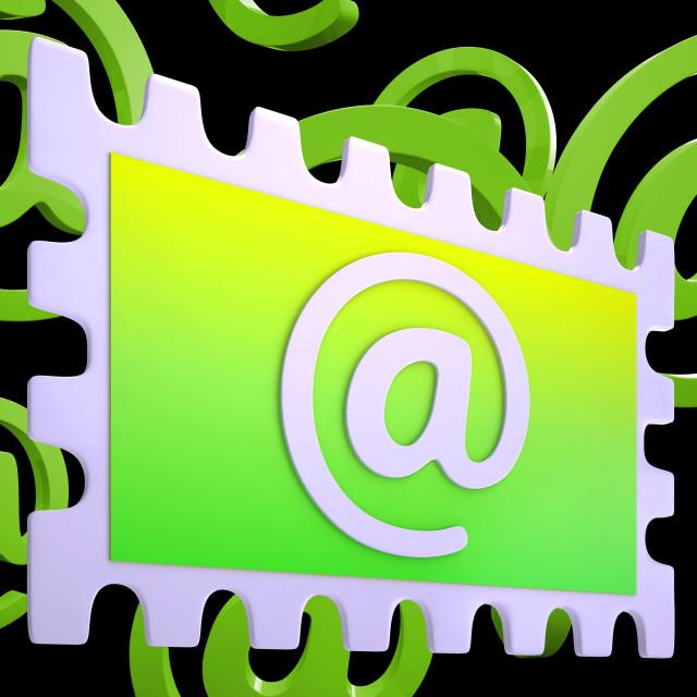 """E-mail Stamp Shows Correspondence Mail Via Internet"" stock image"