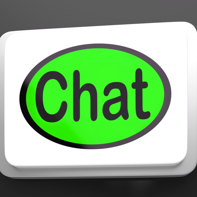 """Chat Button Shows Talking Typing Or Texting"" stock image"