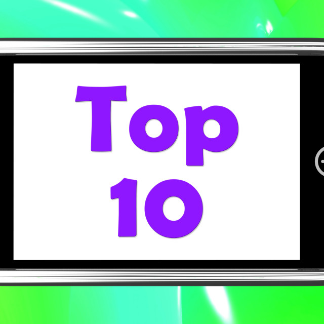 """""""Top Ten On Phone Shows Best Ranking Or Rating"""" stock image"""