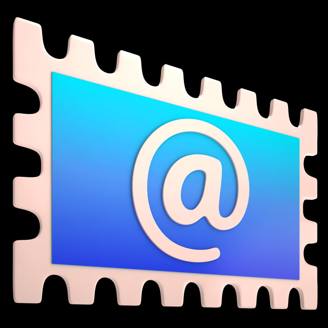 """""""E-mail Stamp Shows Online Mailing Communication Post"""" stock image"""