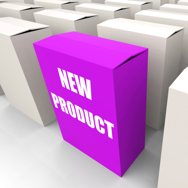 """New Product Box Indicates Newness and Advertisement"" stock image"