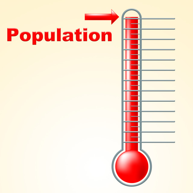 """""""Thermometer Population Shows Thermostat Celsius And Temperature"""" stock image"""