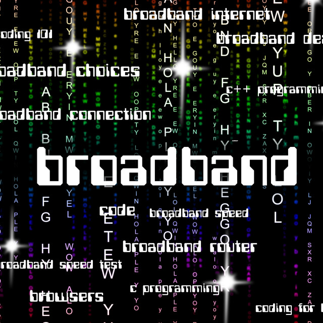 """Broadband Word Shows World Wide Web And Computing"" stock image"