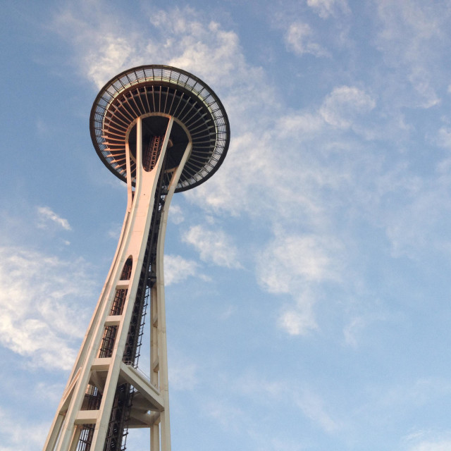 """Seattle sky needle, tourist attraction, viewing platform, restaurant, Washington state, USA"" stock image"
