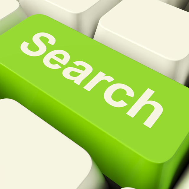 """""""Search Computer Key In Green Showing Internet Access And Online Research"""" stock image"""