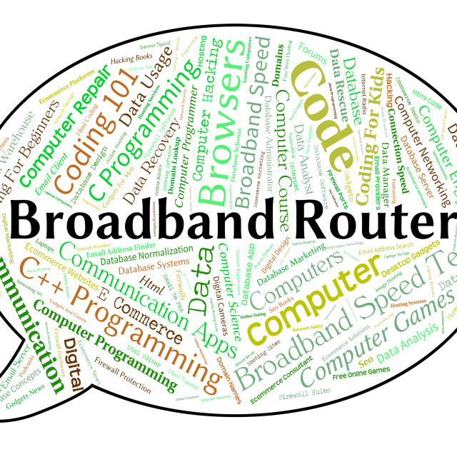 """Broadband Router Means World Wide Web And Computer"" stock image"