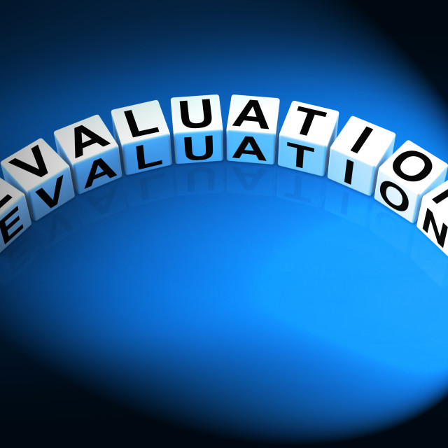 """Evaluation Letters Show Judgement Assessment And Review"" stock image"