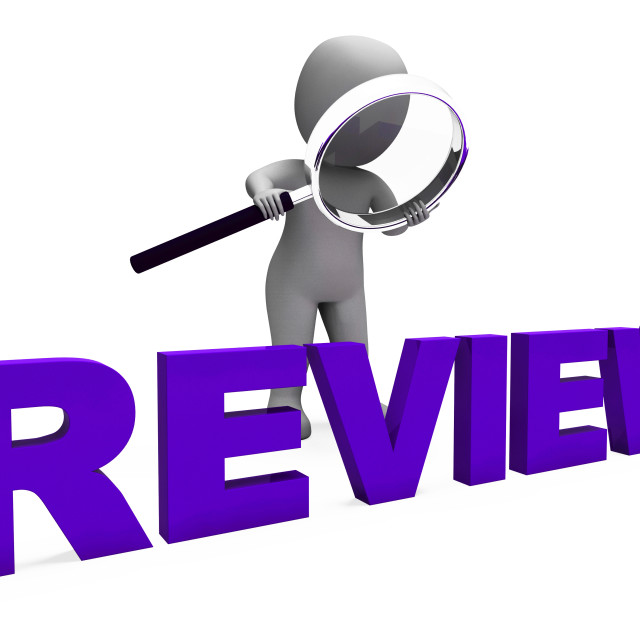 """Review Character Shows Reviewing Evaluate And Reviews"" stock image"