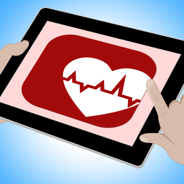 """Heartbeat Online Means Pulse Trace And Cardiac"" stock image"