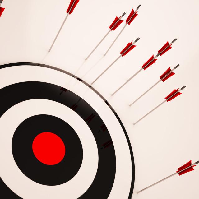 """Missed Target Shows Failure Unsuccessful Aim"" stock image"