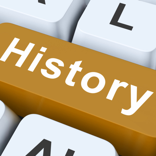 """History Key Means Past Or Old Days."" stock image"