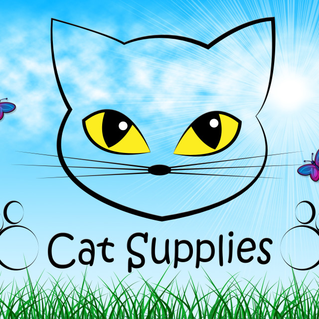 """""""Cat Supplies Means Pedigree Cats And Goods"""" stock image"""
