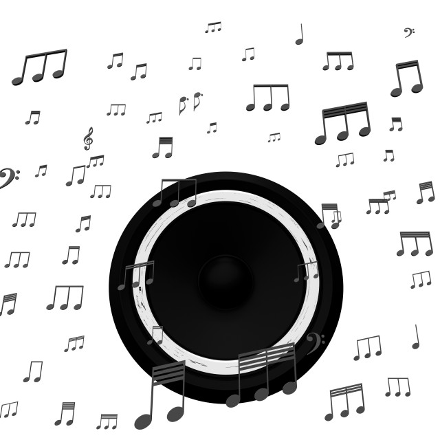 """""""Speaker And Music Notes Shows Soundtrack Disco Or Concert"""" stock image"""