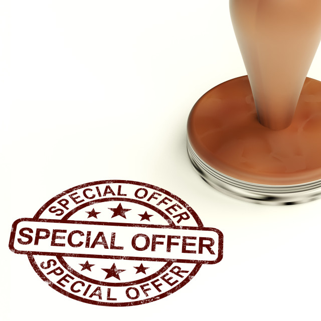 """Special Offer Stamp Showing Discount Bargain Product"" stock image"