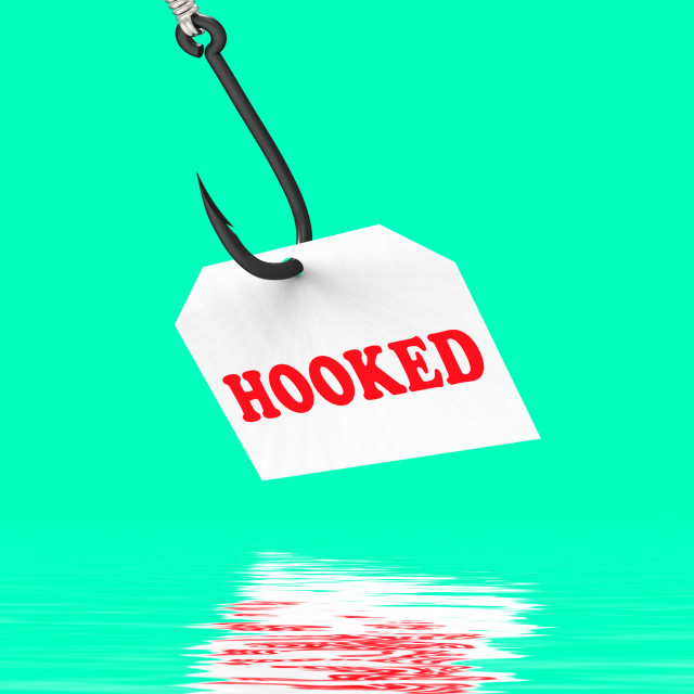 """Hooked On Hook Displays Fishing Equipment Or Catch"" stock image"