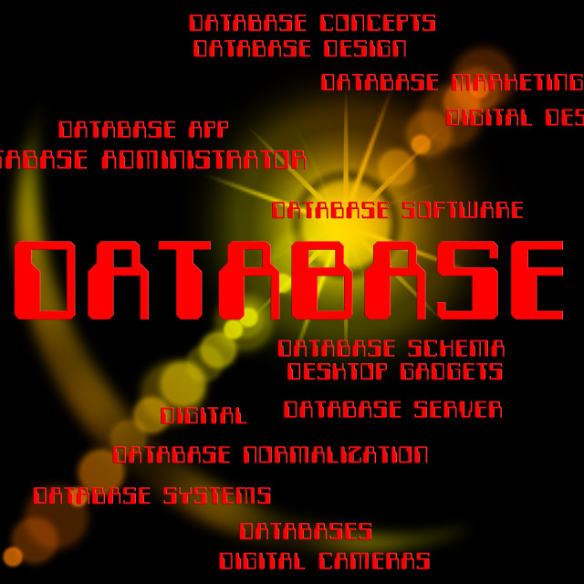 """""""Database Word Means Words Text And Databases"""" stock image"""