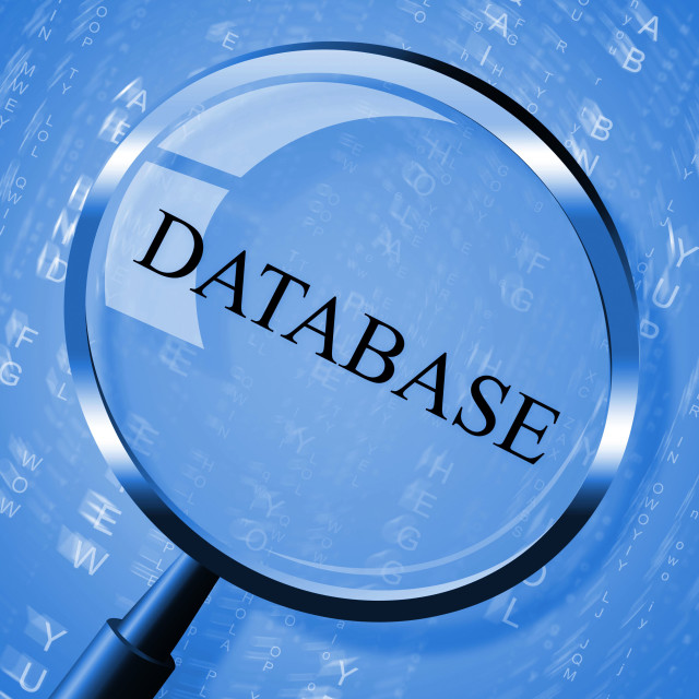 """""""Database Magnifier Shows Bytes Magnification And Computing"""" stock image"""