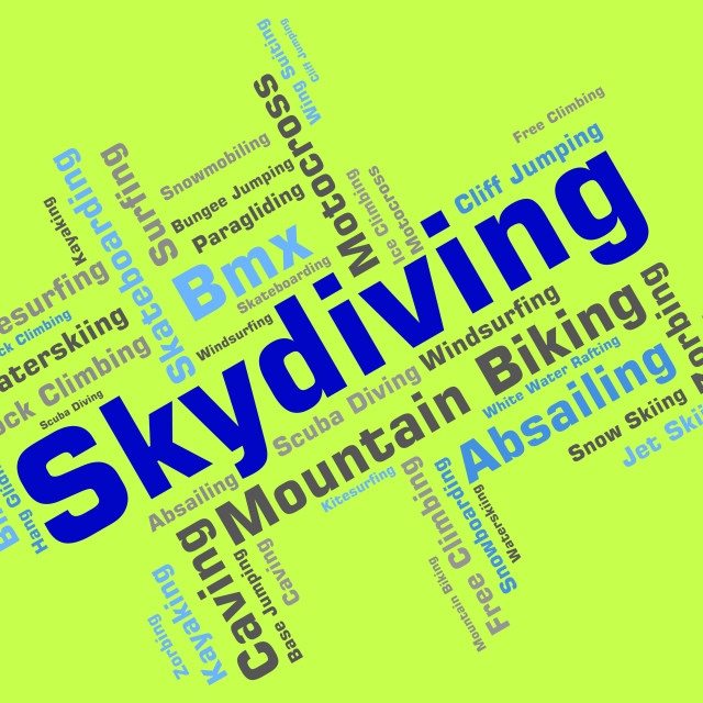 """""""Skydiving Word Means Free Falling And Parachutes"""" stock image"""