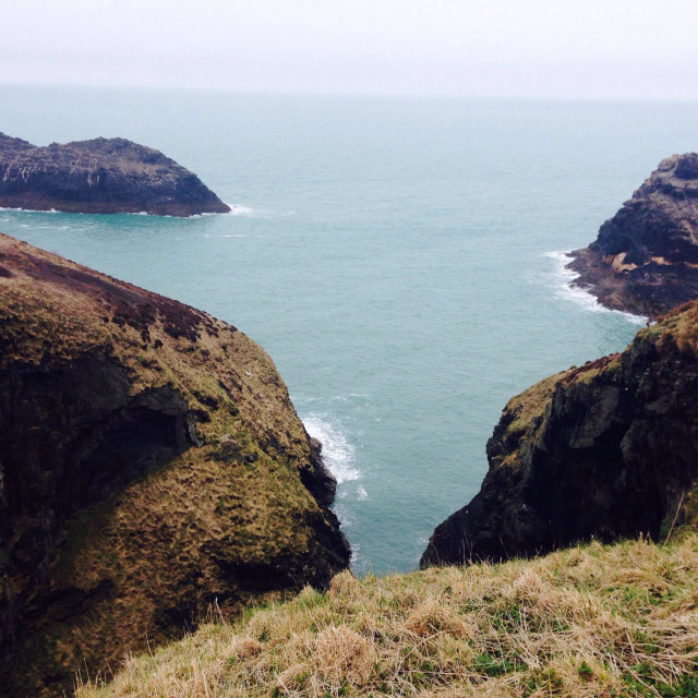 """Coastal walk at Boscastle in Cornwall"" stock image"