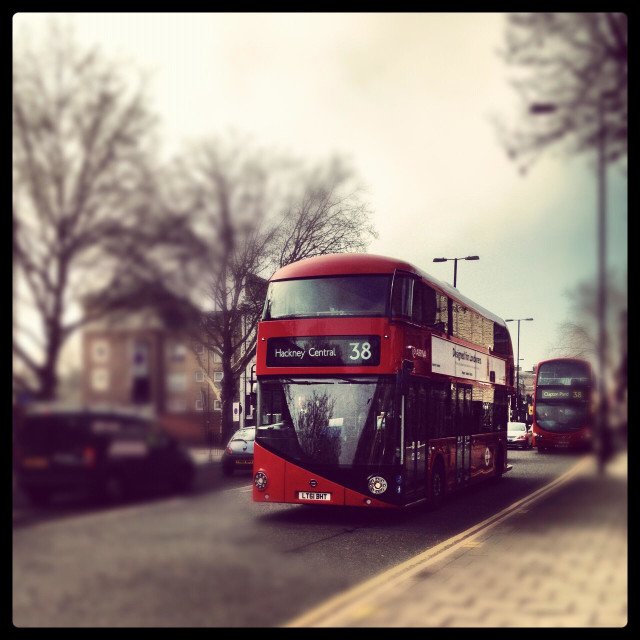 """New routemaster bus London"" stock image"