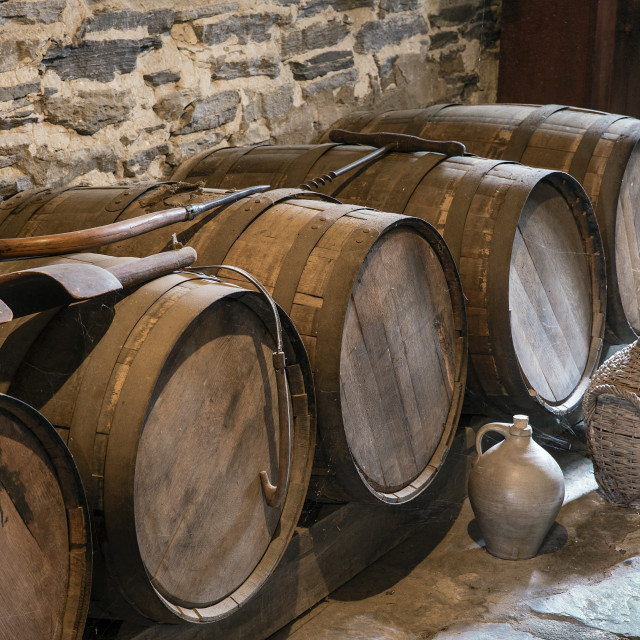 """Hard cider wooden casks, Hancock Shaker Village, Hancock, Massachusetts, USA"" stock image"