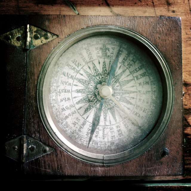 """""""Old wood compass for direction"""" stock image"""