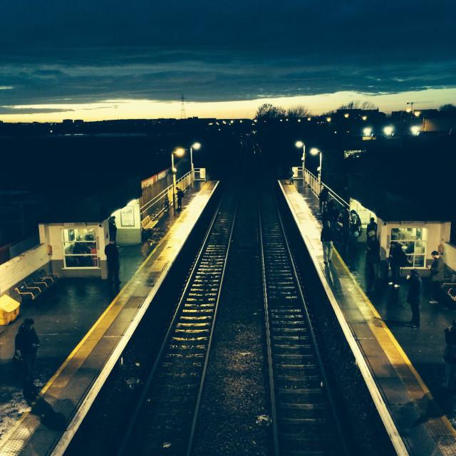"""London Overground train Station"" stock image"