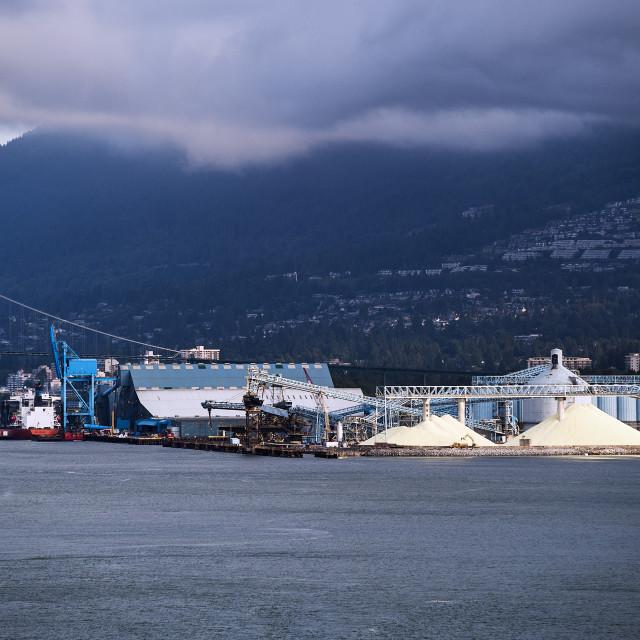 """Stockpiled sulphur, North Vancouver Sulphur Works, Vancouver, Canada"" stock image"