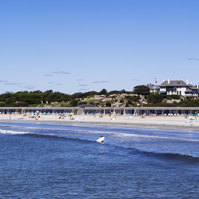 """""""Spouting Rock Beach Association, also known as Bailey's Beach is an elite private beach and club in Newport, Rhode Island, USA"""" stock image"""