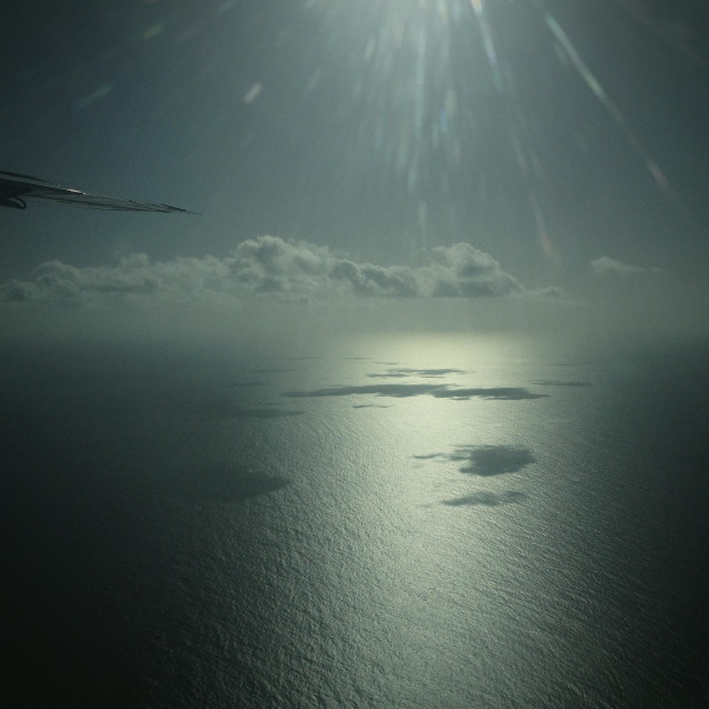 """""""Sea and sky seen from airplane"""" stock image"""