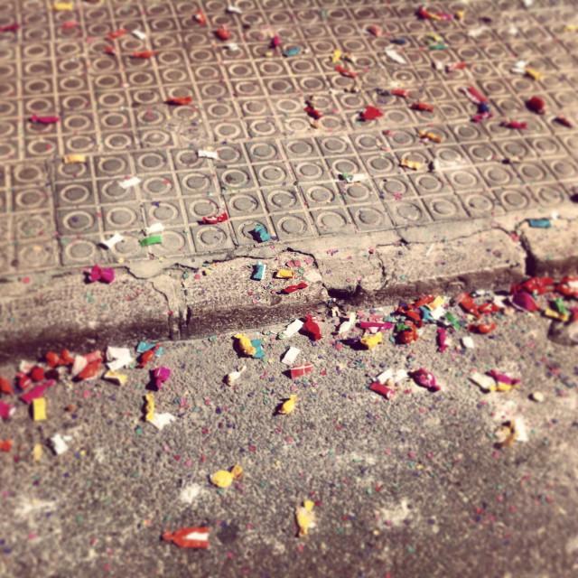 """""""Sweets on the floor during the carnival festival in Vilanova i la Geltru, Barcelona Spain"""" stock image"""