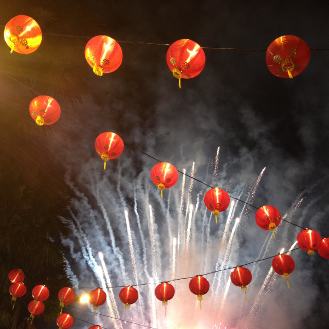 """Chinese New Year lanterns fireworks"" stock image"