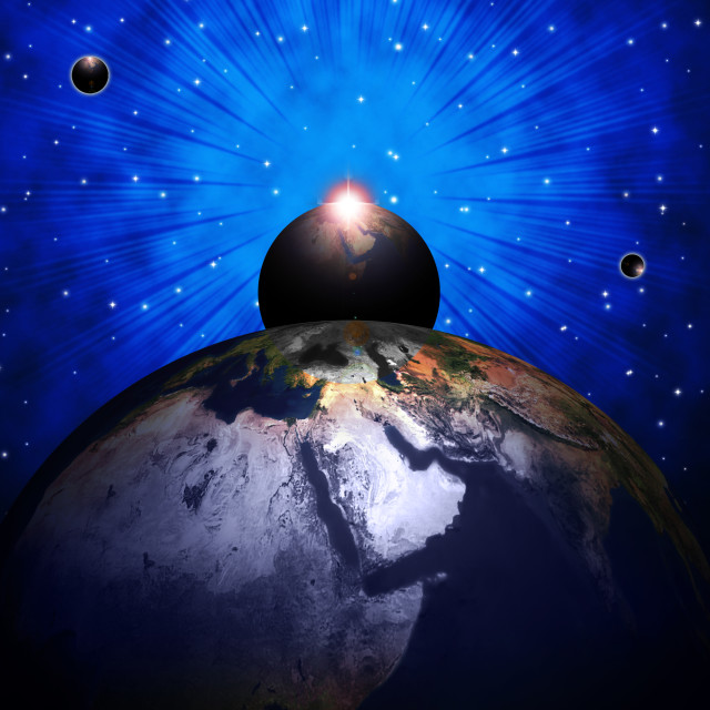 """World Planets Shows Solar System And Globalisation"" stock image"
