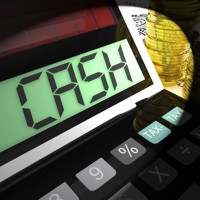 """""""Cash Calculated Shows Money Earning And Spending"""" stock image"""