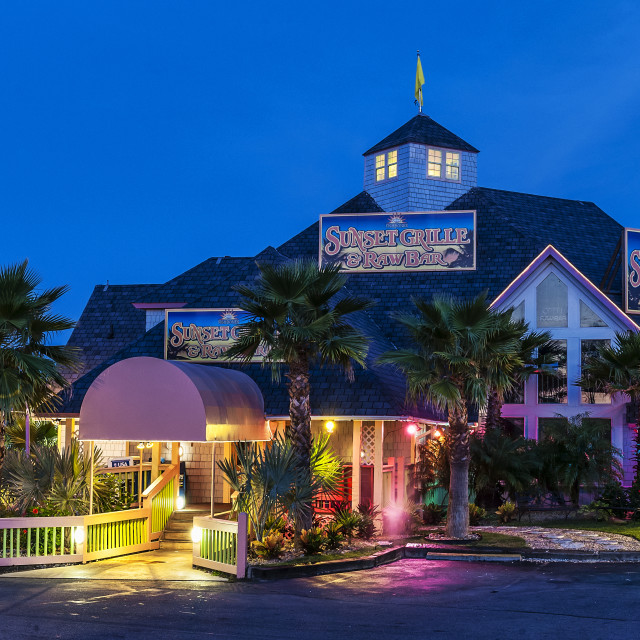 """""""Sunset Grill restaurant, Duck, Outer Banks, North Carolina, USA."""" stock image"""