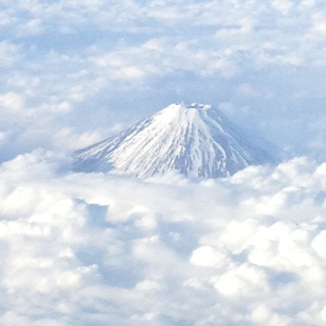 """""""Mount Fuji arial view from plane with cloud cover, Japan Tokyo"""" stock image"""