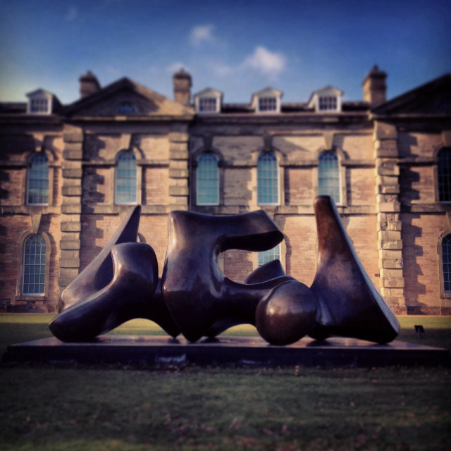 """Henry Moore's Vertebrae sculpture outside Compton Verney Art Gallery in Warwickshire. Part of the Moore Rodin exhibition. February 2014"" stock image"