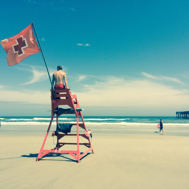 """Life guard at Jacksonville Beach, Florida"" stock image"