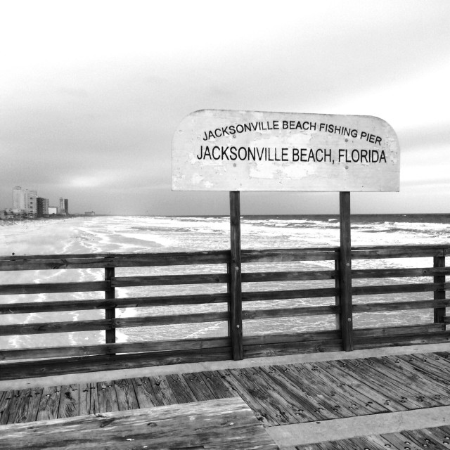 """Jacksonville Beach Fishing Pier"" stock image"