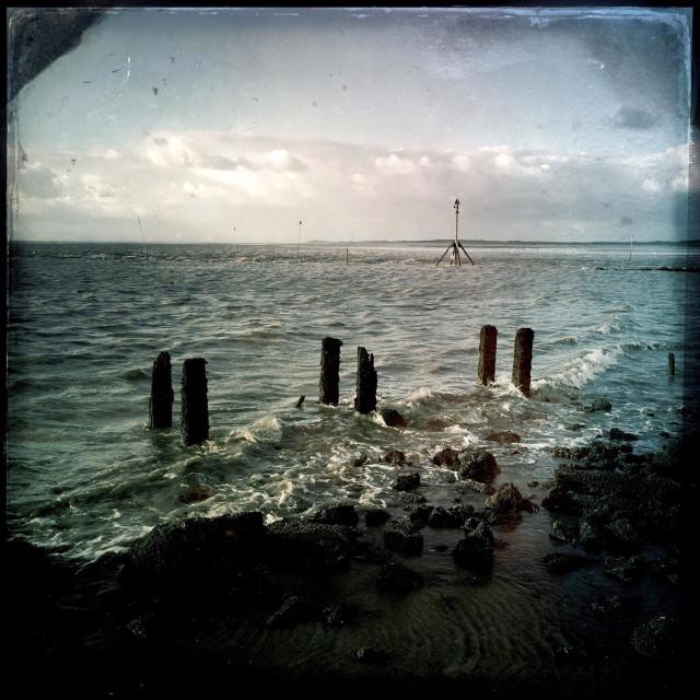 """Sea on Crosby Beach"" stock image"