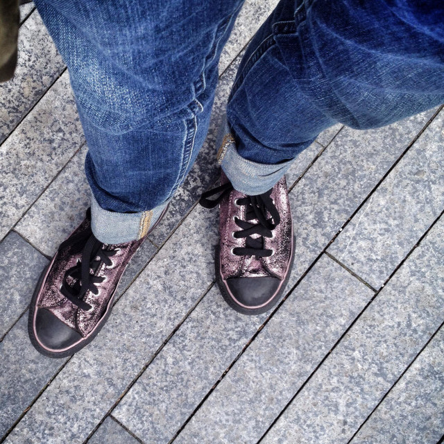"""Glittery purple sneakers"" stock image"