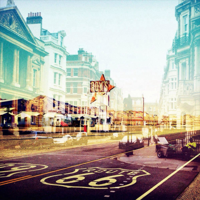 """A colourful double exposure of Route 66 (USA) and bond street (London)"" stock image"