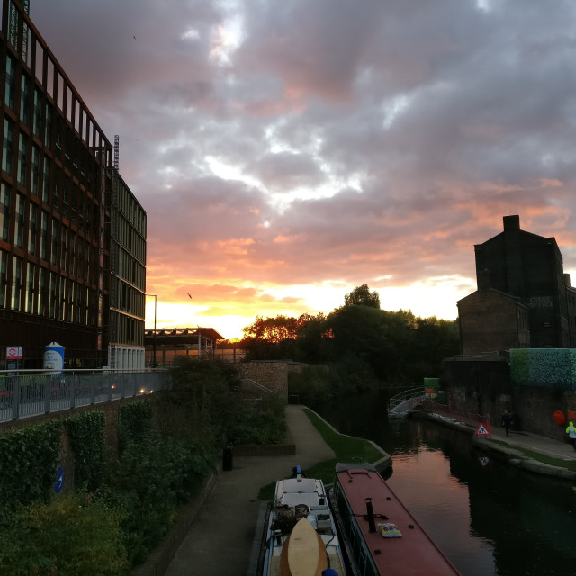 """Sunset, Kings Cross, London"" stock image"