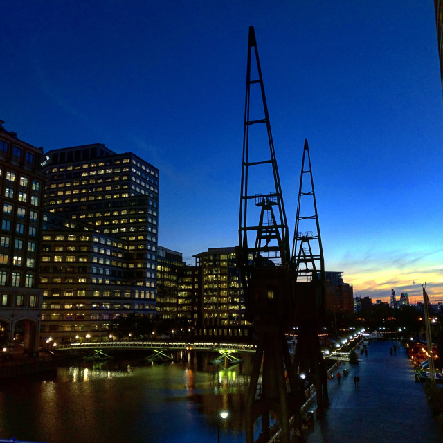 """Canary Wharf sunset, London"" stock image"