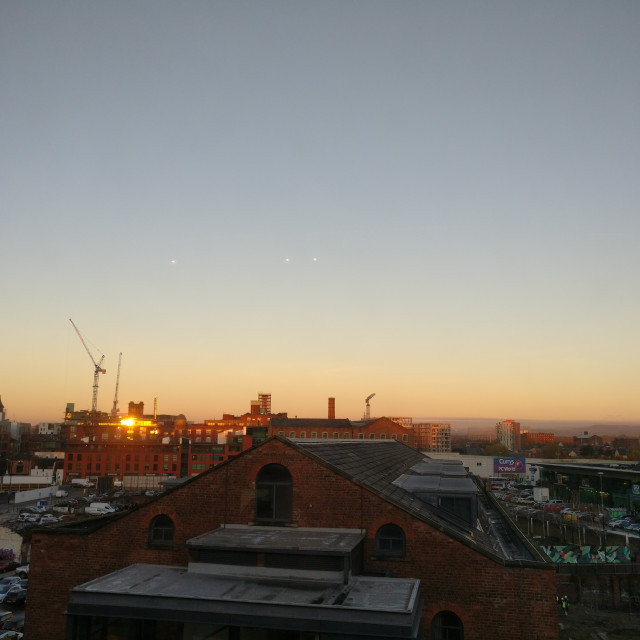 """Sunset, Manchester"" stock image"