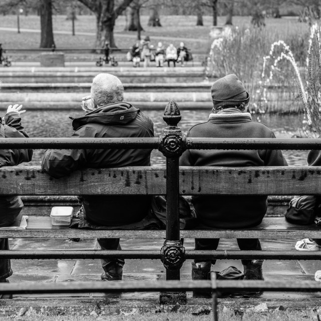 """""""Conversations in the Park"""" stock image"""
